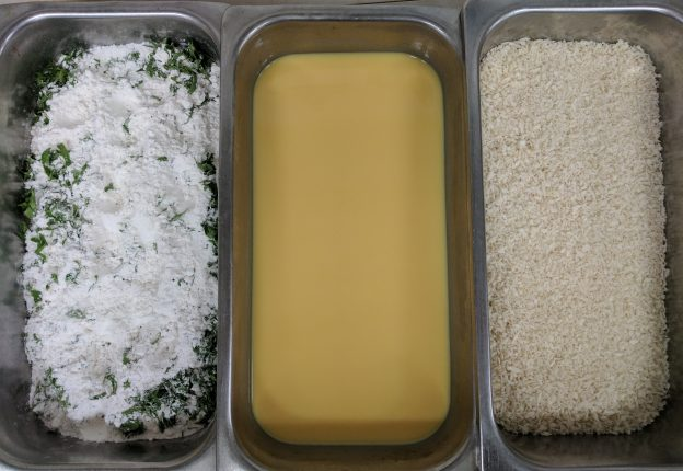 Use three trays for your seasoned flour, eggs & panko crust