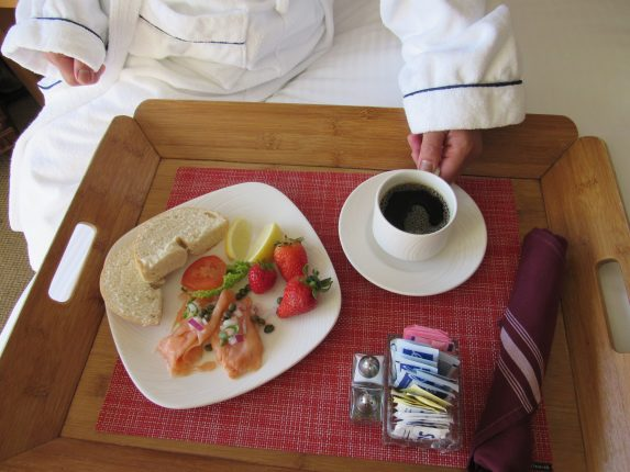 Breakfast in bed at Portola Hotel