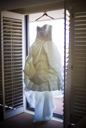 A wedding dress in a Portola Hotel & Spa's suite