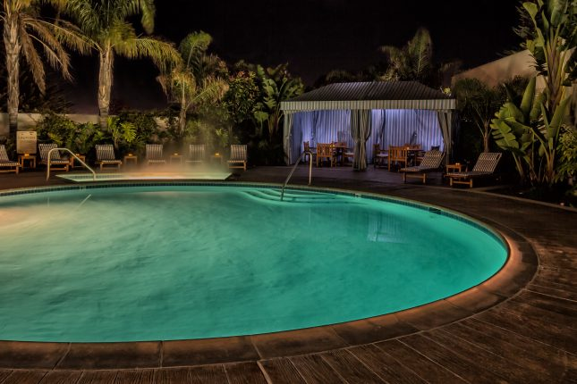 Portola Hotel & Spa's pool in the evening