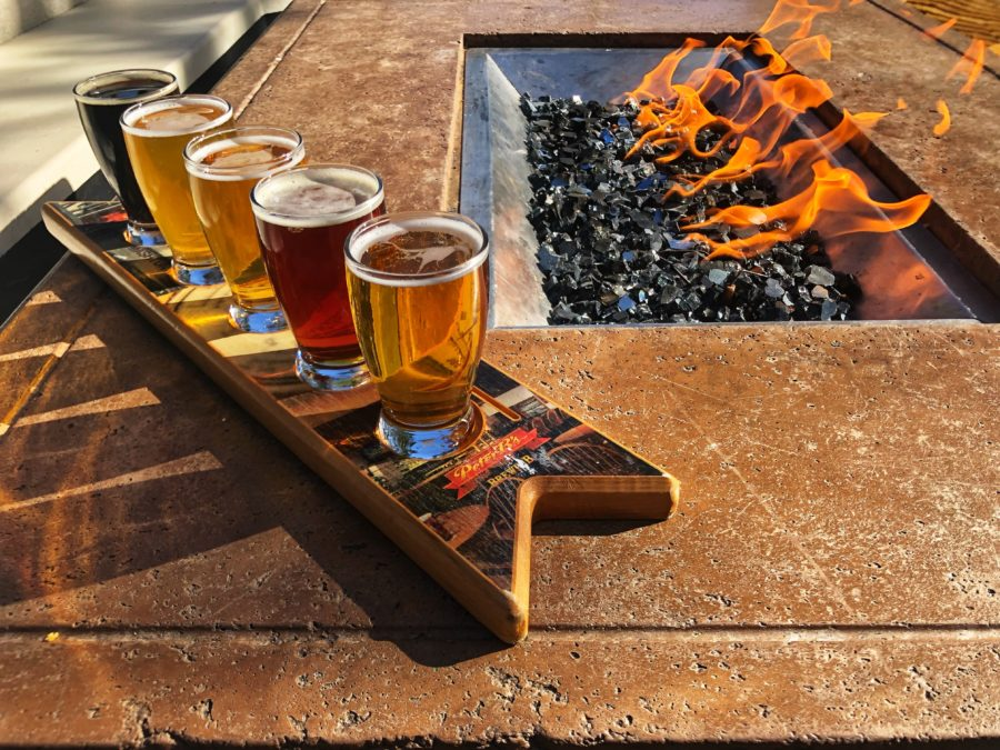 flight of craft beers at Peter B's Brewpub