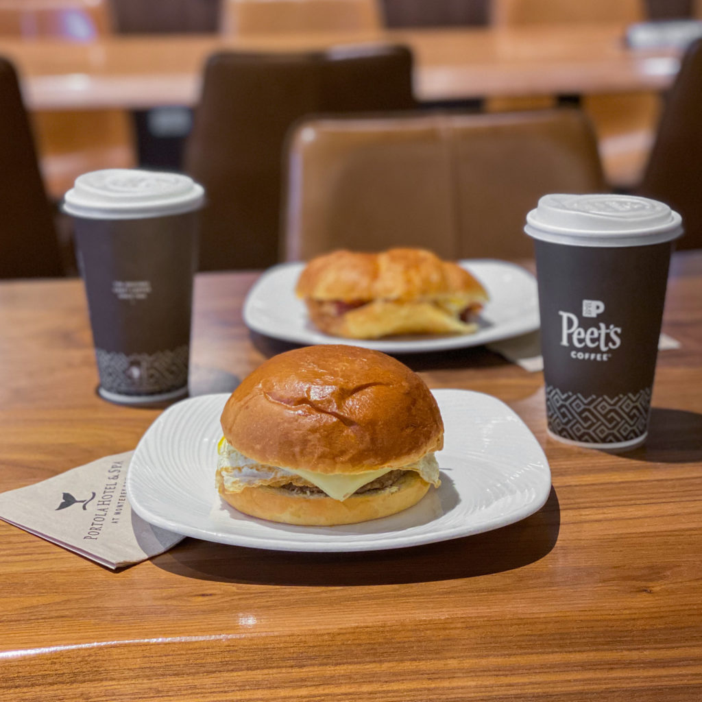 Coffee and breakfast sandwiches at Peet's Coffee Portola Hotel & Spa