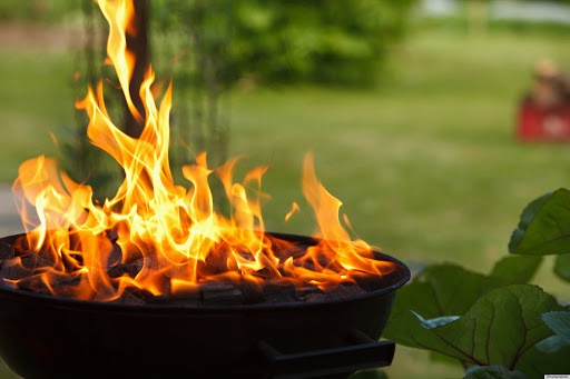BBQ Grill with flames