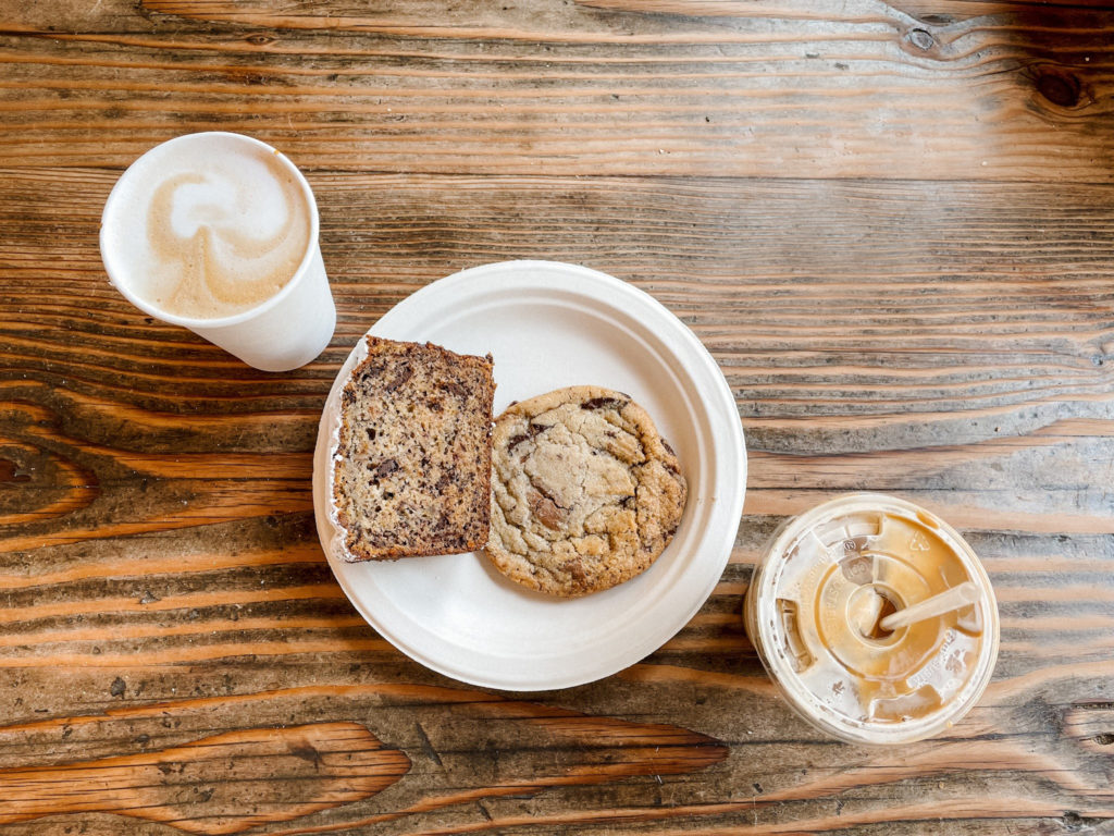 Coffee, Banana Chocolate Chip Bread, and a Chocolate Chip cookie