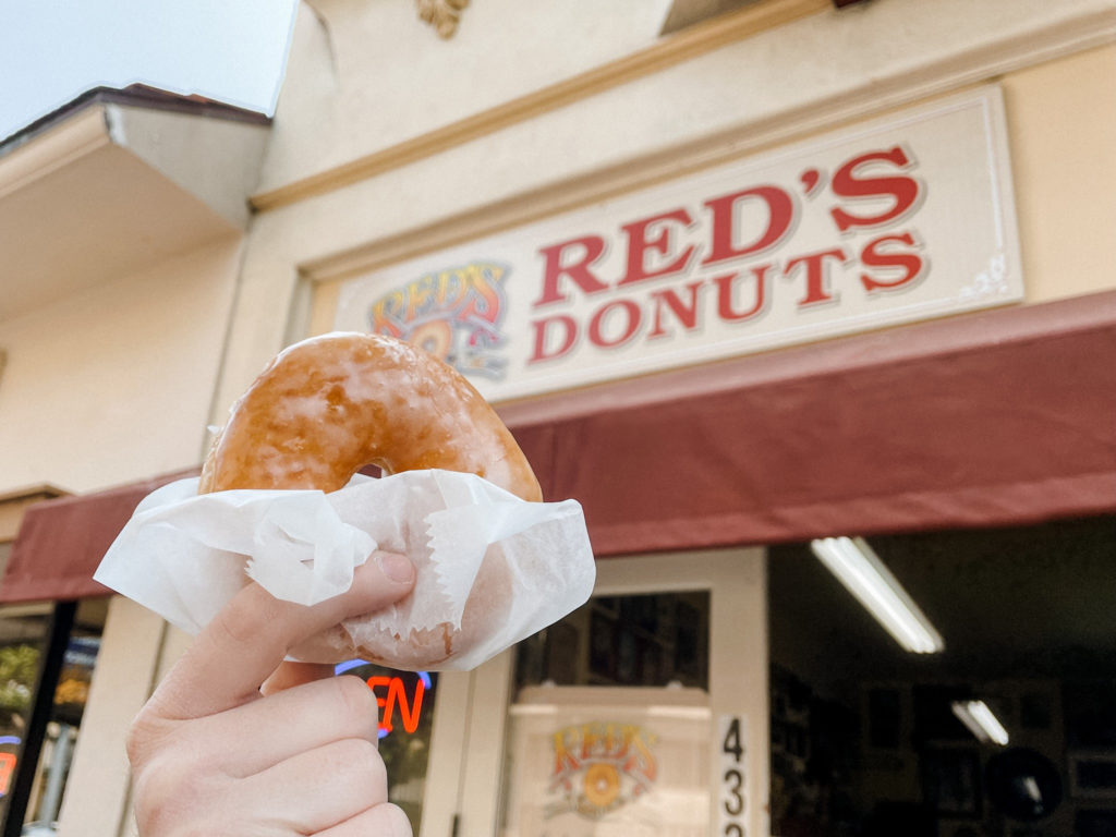 A glazed donut at Red's Donuts, the perfect morning dessert